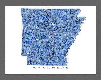 Arkansas Map Print, Arkansas State Art, AR Wall Decor