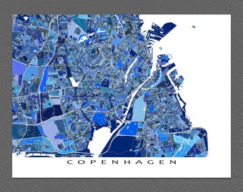 Copenhagen Map Print, Copenhagen Art, Copenhagen Denmark City Maps