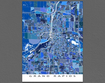Grand Rapids Map Print, Grand Rapids Michigan, City Map Art