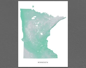 Minnesota Map Print, Minnesota State, Aqua, MN Landscape Art