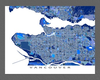 Vancouver Map Art Print, Vancouver Art, BC, British Columbia, Canada