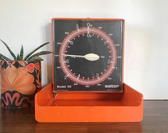 Fabulous Retro 1970's Salter Kitchen Wall Scales-Bright Orange Kitchen Decor