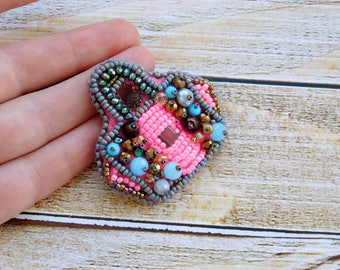 Fashion brooch, pink brooch, bag brooch, jewelry for her, fashion jewelry, gift for her