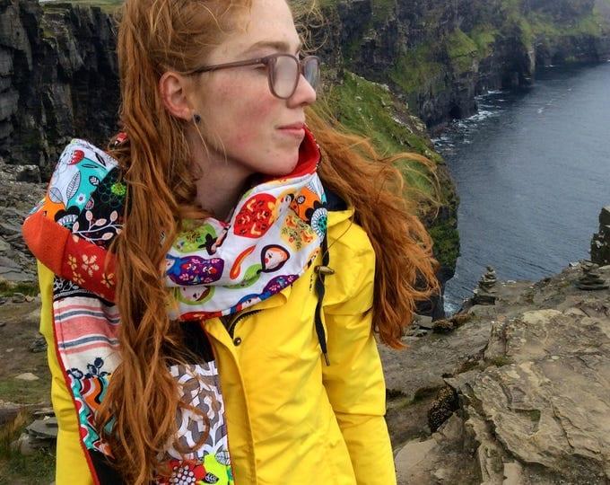 "Patchwork Scarf- ""Matrushka Dolls"" -Womens Scarf, Matryoshka, Upcycle, Made in Ireland, Winter Accessories, Red, Yellow, Polar Fleece, Irish"