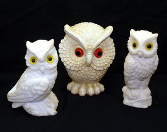 Vintage owl lot-old owl collection-alabaster figurines-england italy