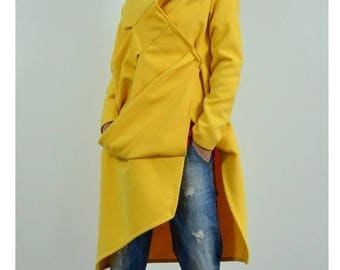 ON SALE Winter coat /Yellow extravagant coat / Maxi Asymmetric coat / Winter Wool Cashmere blend