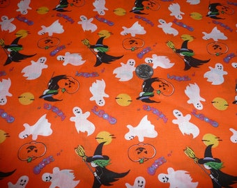 1 1/2 Yards Witches, Ghosts, Jack-O-Lanterns Cotton Fabric