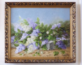 Still life of flowers painting. Sophie Pir 1858-1936. Floral still life. The bunch of lilacs. Lilacs oil painting.