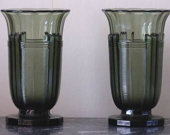 Val Saint Lambert. Charles Graffart. Art Deco moulded glass vases. Circa 1935.