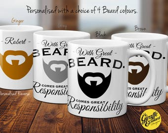 With Great Beard comes Great Responsibility Personalised Novelty 11oz Coffee Gift Mug - 4 Colours - Grey Black Ginger Brown