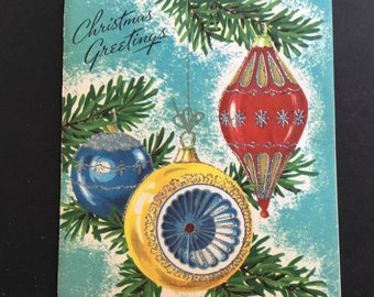 VTG Christmas Greeting Card, glitter ornaments & boughs, by Colortype