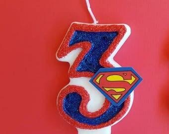 Superman / Hero / Birthday Candle / Cake Cupcake Topper/  Keepsake / Any Number