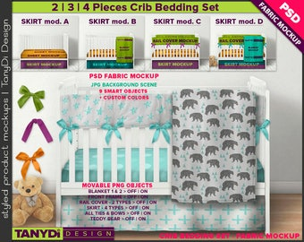 Crib Bedding Photoshop Fabric Mockup F-4CBS2   PNG Movable Rail cover Ties Blanket Teddy bear   12 White crib Front view JPG Scenes