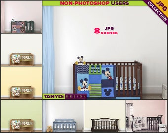 Nursery Styled Interior NC2 | Wood Crib Scene | 8 JPG Blank Wall Styled Scenes | Nursery Wall decor | Scene Creator