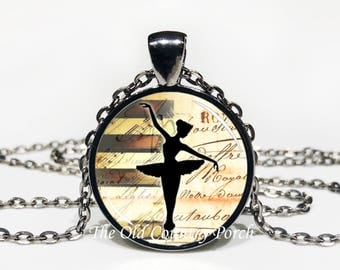 Ballet Dancer - Glass Pendant Necklace with Chain -ballerina, dance, Mother's Day Gift, Friend Gift, birthday gift, Easter Gift,