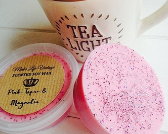 Pink Topaz & Magnolia Scented Soy Wax Melt - Soy Wax Tart Pot - Wax Melts
