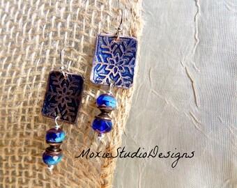 Unique Earrings, Snowflake Earrings, Copper Artisan Earrings, Bohemian Earrings, Boho Earrings, Etched Copper Earrings