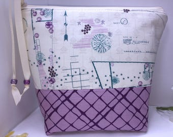 Drafting Print Waterproof Bag, Purple Large Project Bag, BIG Wet Bag, Cosmetics Case, Tall Zipper Pouch