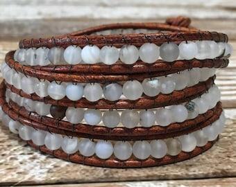 Gray Chan Luu Style Wrap Bracelet / Healing Crystal Bracelet / Chan Luu Bracelet / Chakra Bracelet