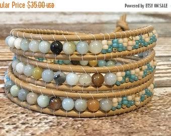SUMMER SALE Amazonite Bracelet / Healing Crystal Bracelet / Chan Luu Style Wrap Bracelet / Healing Crystal Bracelet / Chan Luu Bracelet