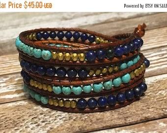 SALE Blue Chan Luu Style Wrap Bracelet / Healing Crystal Bracelet / Chan Luu Bracelet / Chakra Bracelet