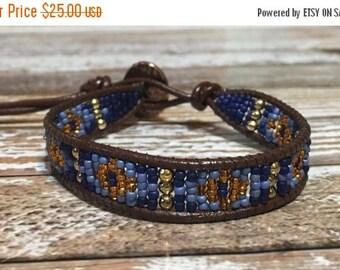 SALE Blue Beaded Bracelet / Leather Wrap Bracelet / Bead Loom Bracelet / Chan Luu Style / Seed Bead Bracelet