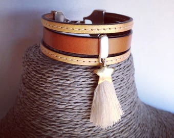 "Bracelet 3 ""Panama"" genuine leather straps"
