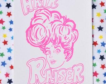 Small Retro Risograph Print, Hair Raiser Print, Fun Print For Hairdressers, Pink Retro Print, Retro Girl Print, Pop of Colour, Hand Drawn