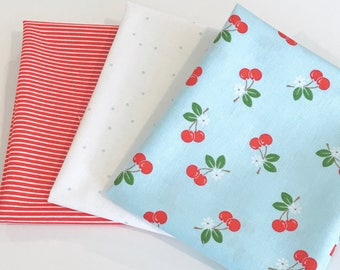 SALE!! Fat Quarter Bundle Sew Cherry 2 by Lori Holt for Riley Blake Designs- 3 Fabrics