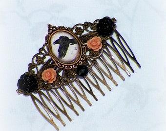 Raven Hair Comb Gothic Black Vintage Poe Style Bridal Victorian Rose Gyspy Boho  Steampunk Wedding Gothic Bohemian