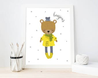 Bonjour Art Print, Nursery Wall Art, Modern nursery ber art print, Kids Room Decor, Cute Bear Nursery Printable (ArtPrint B17)