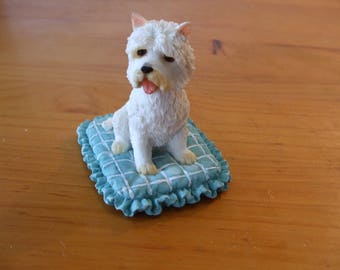 Leonardo Westie (West Highland Terrier) sitting on turquoise cushion