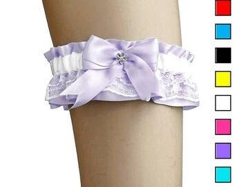 Sale - Lilac white bridal garter, wedding lace garters, satin garter wedding lingerie, handmade garter is stretching, bridal garter 0085-06