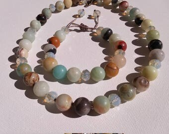 Knotted amazonite necklace and draw string bracelet set