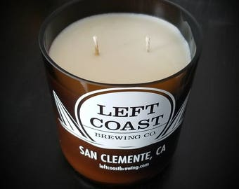 Left Coast Brewing Co. growler candle