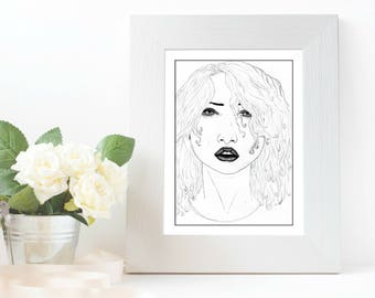 Scared - Women Portait Series, A5 or A6 Print of Original Artwork on thick paper with grain