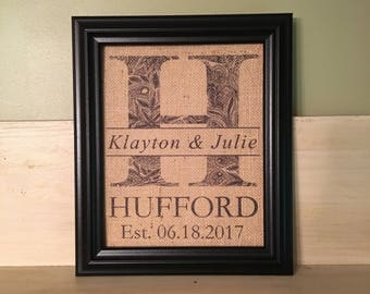 Monogrammed Burlap Wedding Print, Personalized Burlap Wedding Print, Anniversary Gift, Wedding Burlap Print, Engagement Gift, Wedding Gift