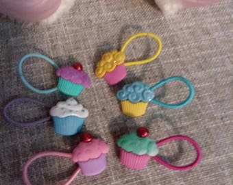 Elastic Cupcake Hair Ties