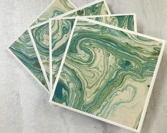Tile Coasters, Drinks Coasters, Ceramic Coasters, Drink Coasters, Set of 4 Coasters, Handmade Coasters, Marbled Coasters, Green Coasters
