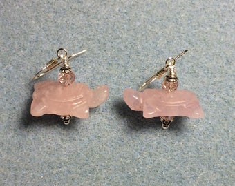 Rose quartz gemstone turtle bead earrings adorned with pink Chinese crystal beads.