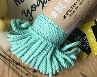 Macrame mint cotton rope, macrame rope, cotton cord 5 mm, macrame cord, 5mm cotton twisted rope, cotton rope macrame, diy rope