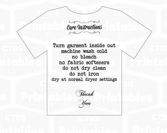 T-shirt care instructions SVG file care card