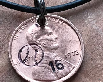 Personalized sports necklace penny necklace leather custom necklace birthday gift sports gift lacrosse hockey softball baseball football