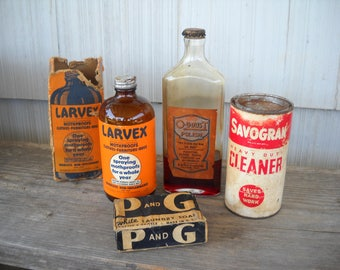 Household Cleaning Products Antique and Vintage Larvex/Mothproofs/Furniture Polish/Savogran/Heavy Duty Cleaner/Laundry Soap/Proctor & Gamble