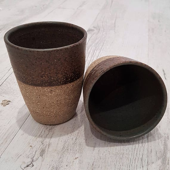 Handmade ceramic tumblers set of two - brown - melbourne made - rustic gifts - gifts for her - gifts for him - gifts for mum - gifts for dad