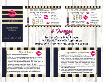 Digital Images - LipSense Business Card and Application and Trick 3x5 images