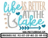 Life is better at the lake embroidery - 4x4 5x7 6x10 embroidery file - lake embroidery file - lake dish towel - cute beach towel design