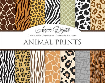 Vector Animal Prints Digital Paper Backgrounds, Wild Animal Skin, Fur seamless patterns. Safari textures. Clipart leopard print zebra tiger