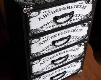 Large 4 Drawer Hand Made Ouija Spirit Board Damask Silver Altar Trinket Stash Keepsake Jewelry Box