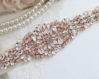 Bridal Belt,  Crystal Bridal Belt, Wedding Sash Belt, Wedding Belt, Rose Gold Wedding Belt